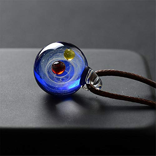 (Whiteswan Fantastic Cosmic Galaxy Glass Pendant Nebula Element Glazed Necklace Pendant Dual Planet Fashion Time Gem Jewelry Decor)