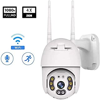 Camecho WiFi Security Camera System Wireless 1080P PTZ IP Dome Camera Waterproof/Outdoor Night Vision/Two Way Audio/Motion Detection/Alarm Remote Intelligent Support Micro SD Card