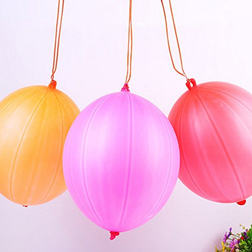 20 Pack - Punch Balloon Ball 10 inches Rubber Neon Child-like Party Punching Balloons Assorted Colors