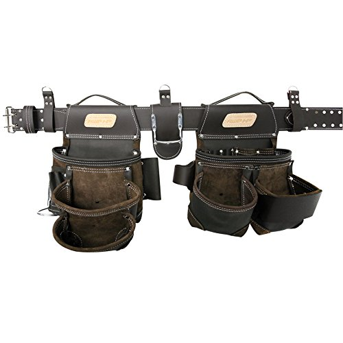AWP HP General Construction Leather Belt Flip Pocket Tool Rig (Belt Suspenders With Tool Awp)