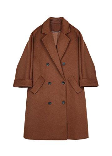 en invierno el Brown la Doble fila para abrigos largos lana y 5qHxE6wEt