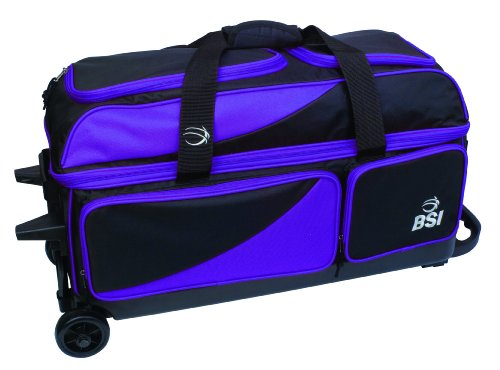 BSI Triple Ball Roller Bowling Bag, Black/Purple