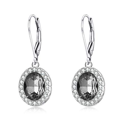 AOBOCO Sterling Silver Leverback Earrings Crystal Drop Halo Earrings with Swarovski Crystals,Fine Jewelry Gift for Women Girls