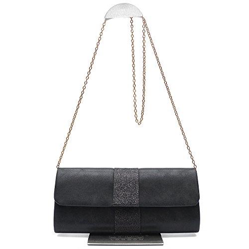 Vain Secrets Damen Umhänge Tasche Abendtasche Clutch in vielen Farben Schwarz PpNz6k
