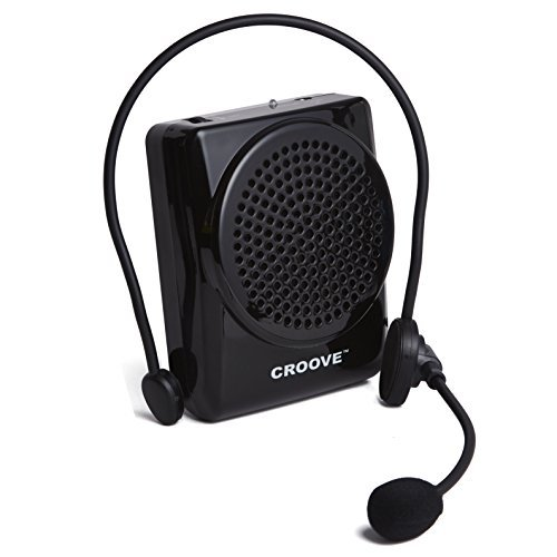 - Croove Rechargeable Voice Amplifier, with Waist/Neck Band and Belt Clip, 20 Watts. Very Comfortable Headset