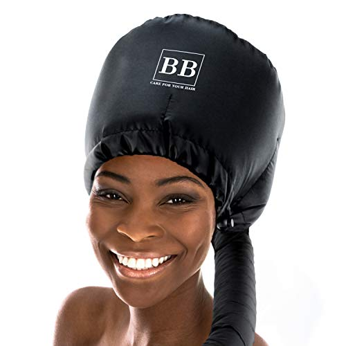 Soft Bonnet Large Hood Adjustable Attachment for Handheld Hair Dryer - For Natural Textured Curly Hair - Deep Conditioning and Drying Heat Cap - Bonnet Buddy