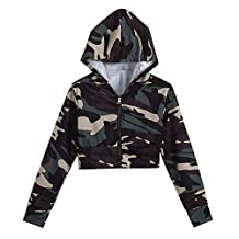 Womens Camouflage Print Short Zipper Hooded Short Sweatshirt (XL, Camouflage)