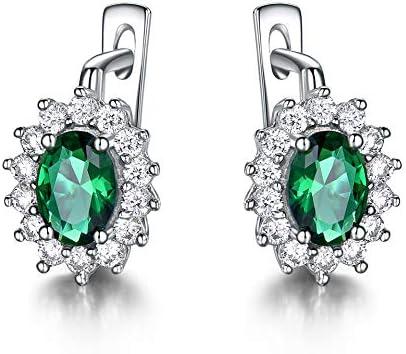 AdronQ 925 Plata Verde Esmeralda Azul Zafiro Pendientes De Clip De Piedras Preciosas para Mujeres Joyería De La Boda Boda