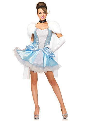 Leg Avenue Women's 4 Piece Slipper-Less Sweetie Princess Costume, Blue/White, Small
