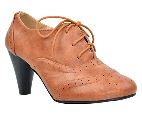 Heeled 1 Lace Oxford amp; Vintage Women's Cognac Dora Chloe up Chase O8Uxw1P8