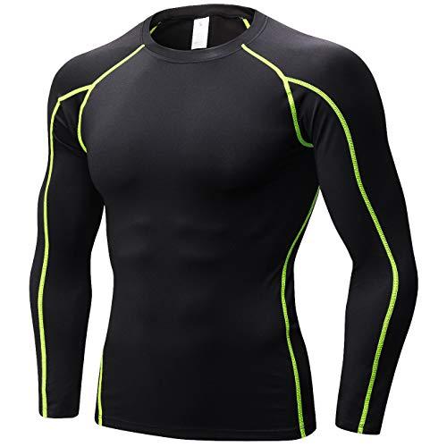 (SILKWORLD Men's Long-Sleeve Compression Shirt Base-Layer Running Top,Black(Green Stripe),)