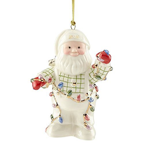 Lenox 2016 Santa Figurine Ornament Annual Tangled in Lights (Lenox Annual Ornaments)