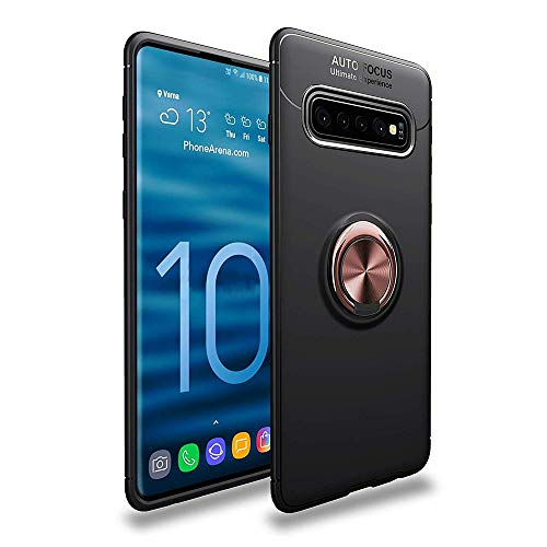 Price comparison product image Lozeguyc Galaxy S10 Case, Soft TPU Hidden Kickstand S10 Back Case with Magnetic Car Mount Holder Kickstand Drop Protection Defender Case for Samsung Galaxy S10-Rose Gold