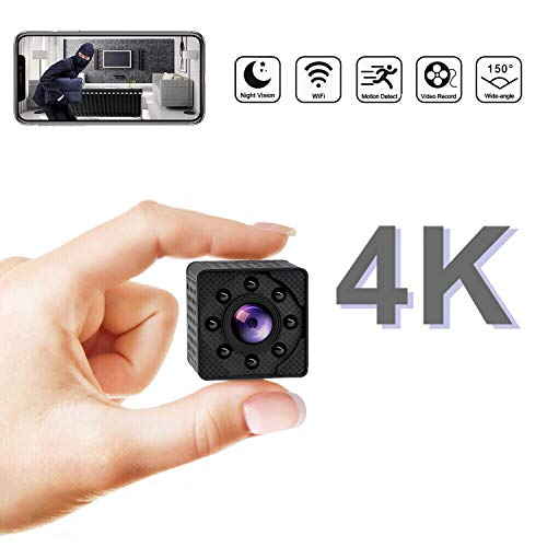ESHUNQI 4K Ultra HD Mini Wireless Hidden Camera, Rechargeable Spy Camera Support Night Vision, Video Record and Motion Detection, Indoor Covert Security Camera for Home and Office, Small Nanny Cam