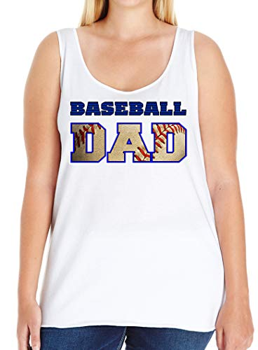 Tenacitee Women's Baseball Dad Ball Cutout Plus Size Tank Top, Size 1, White
