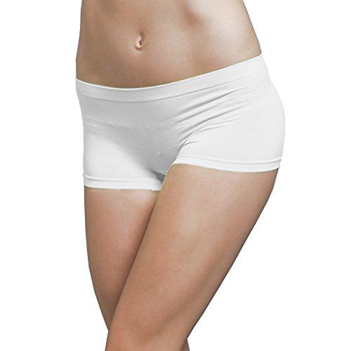 Ekimo T-USA Stretch Seamless Dance Exercise Yoga Mini Panties Boy Shorts Briefs Spankies (White)