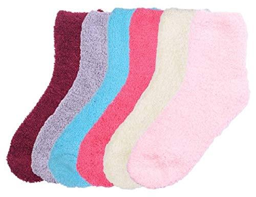 - Mopas Womens Anti-Skid Fuzzy Slipper Socks (6 Pairs) (O/S, Plain/Multicolor)