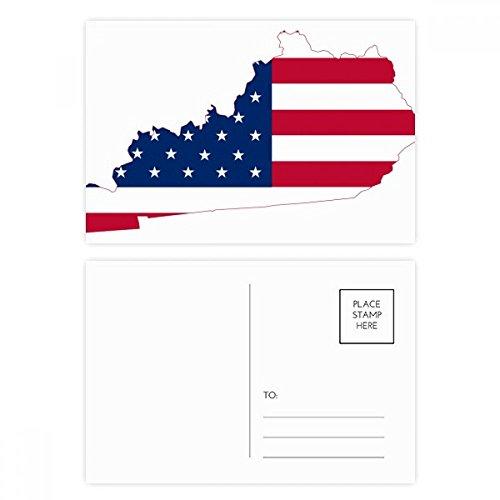 Kentucky USA Map Stars Stripes Flag Shape Postcard Set Birthday Thanks Card Mailing Side 20pcs