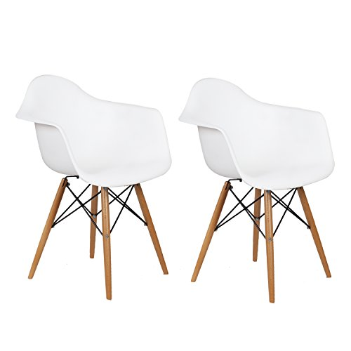Charles & Ray Eames Modern Armchair Side Chair with Wooden Legs, Reception Seat (Set of Two) For Sale