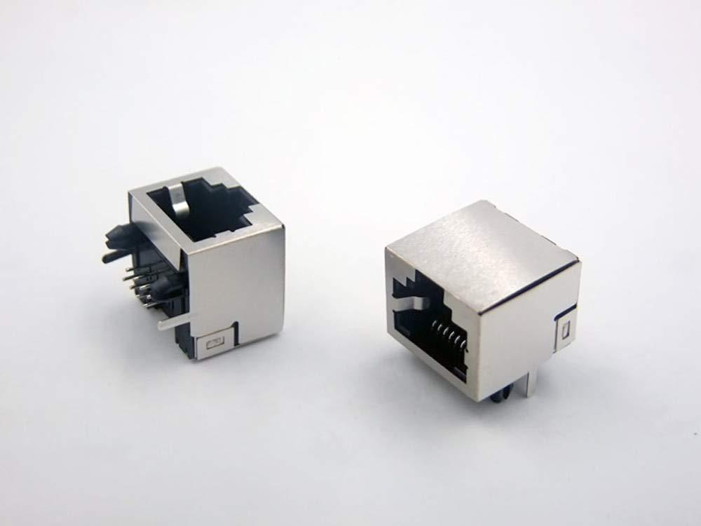Stock-Home, 200Pcs Connector Rj45 Socket 56 Without Lamp Socket 8P8C Crystal - (Color:Silver)