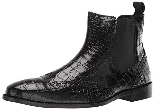 STACY ADAMS Men's Frontera Croc Wingtip Chelsea Ankle Boot, Black, 12 M -