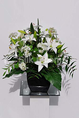 Artificial Silk Flower Arrangement Black /& White Lily Flowers Black Vase.