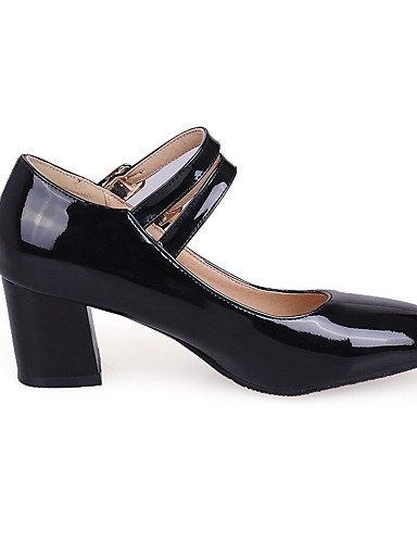 GGX/Schnalle Patent Damen Leder quadratisch geschlossen Zehen Kitten Heels Massiv pumps-shoes white-us8 / eu39 / uk6 / cn39