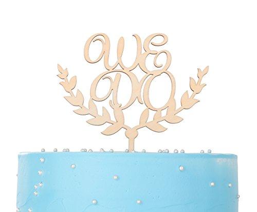 LOVENJOY Gift Box Pack We Do Monogram Wedding Cake Decoration Topper Rustic Wood (5.9-inch)