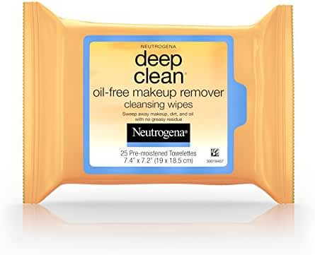 Neutrogena Deep Clean Oil-Free Makeup Remover Cleansing Wipes, 25 Count