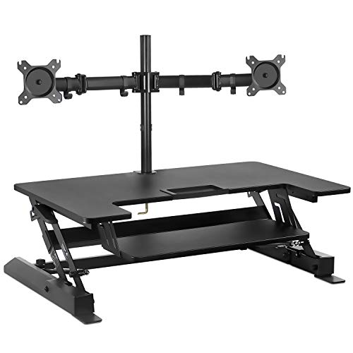 (Mount-It! Sit Stand Workstation Standing Desk Converter with Dual Monitor Mount Combo, Ergonomic Height Adjustable Tabletop Desk, Black (MI-7934))