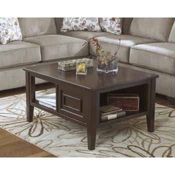 ashley furniture signature design larimer coffee table cocktail height rectangular dark brown