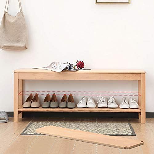 玄関 収納付き ベンチ 玄関廊下のバスルームリビングルームのために竹の靴主催ストレージシェルフホールドシューズラックベンチ2ティア 省スペース おしゃれ (Color : B, Size : 80X30X47)