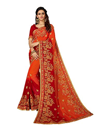 MANOHARI Women's Orange Georgette Embroidered Saree with Blouse