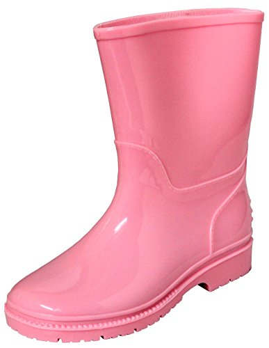 Children's / Toddler's Waterproof Rain Boots, Rubber Rain Shoes Sizes 5-10 (9, Pink)