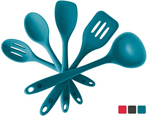 StarPack Basics Silicone Kitchen Utensil Set (5 Piece Set, 10.5″) – High Heat Resistant to 480°F, Hygienic One Piece Design Spatulas, Serving and Mixing Spoons (Teal Blue)