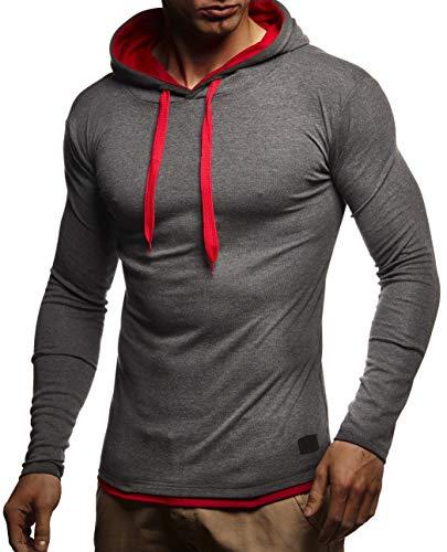 Leif Nelson Herren Kapuzenpullover Sweatshirt Slim Fit Baumwolle-Anteil Männer Hoodie Pulli mit Kapuze Langarm in schwarz weiß LN0209N