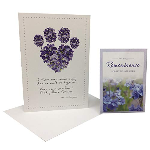 Dog Speak Pet Sympathy Card & American Meadows Forget Me Not Seed Packet Memorial Gift Set
