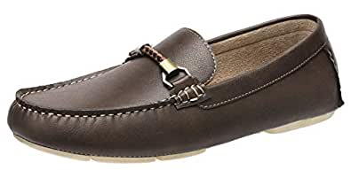 CAMEL CROWN Men's Slip on Casual Loafers Driving Boat Shoes Brown Size: 7