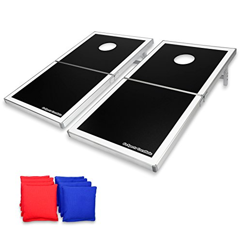GoSports Cornhole PRO Regulation Size Bean Bag Toss Game Set – Foldable (Black, LED and Red & Blue designs)