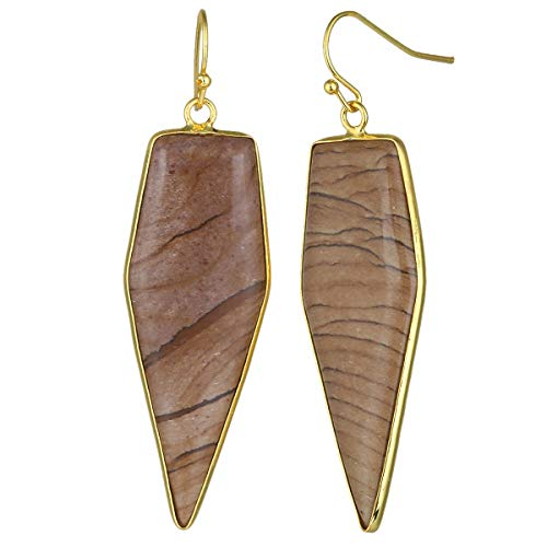 - TUMBEELLUWA Crystal Quartz Stone Dangle Hook Earrings Arrow Shape Gold Plated, Picture Jasper