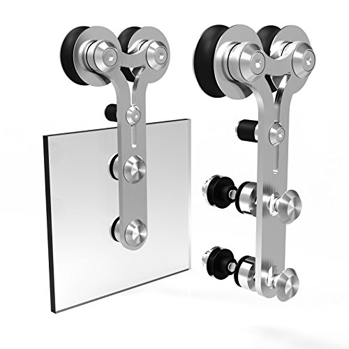 CCJH Y-Shaped Modern Stainless Steel Wooden and Glass Sliding Door Hardware Kit (10FT for Single Door) by CCJH (Image #3)