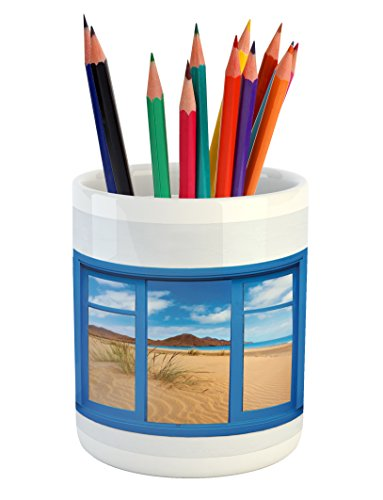 Ambesonne Spain Pencil Pen Holder, Sand View from Window of Spain Beach Distant Hill Plants Sand Touristic Print, Printed Ceramic Pencil Pen Holder for Desk Office Accessory, Blue Sand Brown by Ambesonne