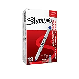 Sharpie Permanent Markers, Ultra Fine Point, Blue, 12 Count