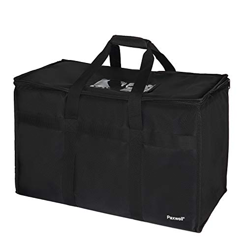 Large Insulated Food Delivery Bag for Uber Eats, Doordash Drivers, Catering and Restaurants with Extra Bottom and Removable Separator to Transport Hot/Cold Items, 23
