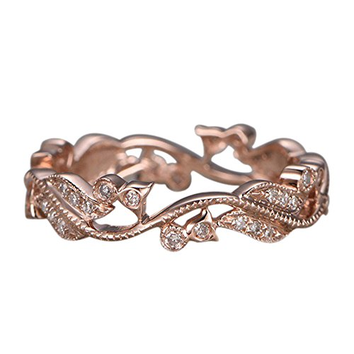 HIRIRI Anniversary Leaf Pattern Diamond Ring Stylish Accessories Necklace Chain Birthday Engagement Present Gold