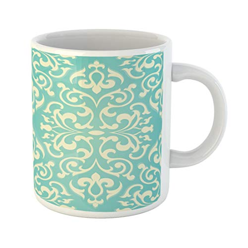 - Tarolo 11 Oz Mug Coffee Mug Ceramic Tea Cup Blue Damask Oriental Abstract Templates Floral Pattern on Turquoise Indian Turkish Large C-handle Family and Office Gift