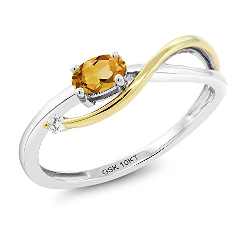Gem Stone King 10K 2-Tone Gold 0.22 Ct Yellow Citrine and Diamond Engagement Ring (Size 8)