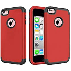 iPhone 5C Case, J.west Hybrid Heavy Duty Shockproof Full-Body Protective Case with Dual Layer [Hard PC+ Soft Silicone] Impact Protection for Apple iPhone 5C - Red/Grey