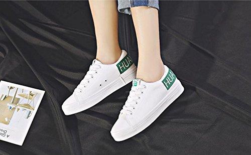 Cordones Zapatos Blancos Alpargatas Primavera de Green Chicas Zapatos de Casual Zapatillas de Zapatos Estudiante 7vwnC