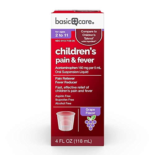 Childrens Tylenol - Basic Care Acetaminophen Children's Pain Reliever Oral Suspension Liquid, 4 Ounce